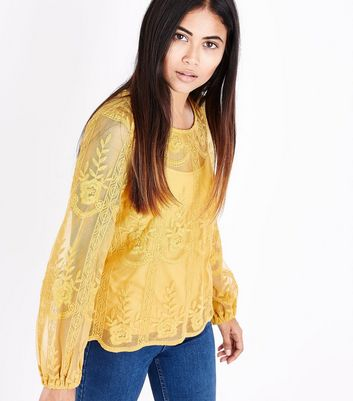 Petite Yellow Sheer Embroidered Balloon Sleeve Top