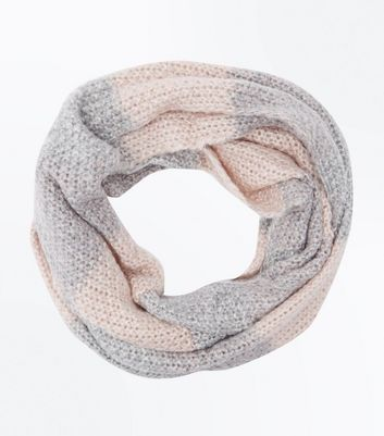 Pink Colour Block Glitter Knit Snood