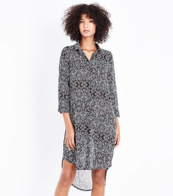 Apricot Black Filigree Print Shirt Dress