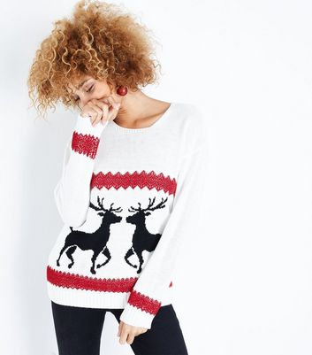 Mela Cream Reindeer Christmas Jumper