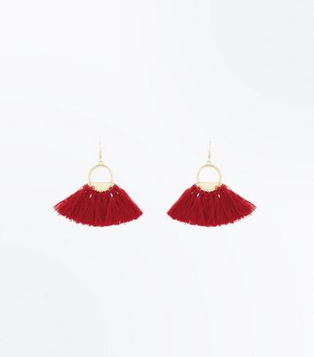 Burgundy Tassel Fan Hoop Earrings