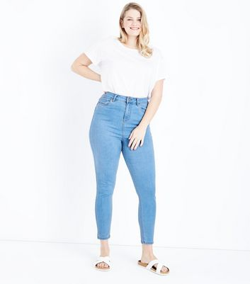 Curves Pale Blue Super Soft Super Skinny Jeans