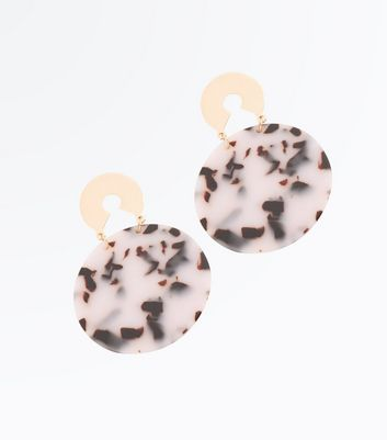 Tortoise Shell Contrast Disc Drop Earrings