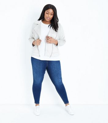 Curves Navy Rinse Wash High Waist Jeans