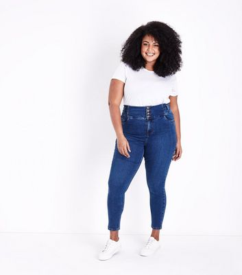 Curves – Blaue High Waist Skinny Jeans in Rinse-Waschung