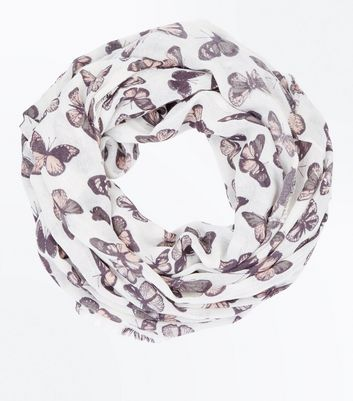 Cream Butterfly Print Snood