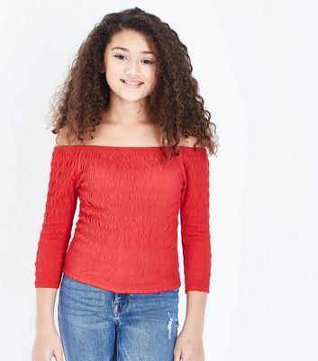 Teens Red Shirred 3/4 Sleeve Bardot Top