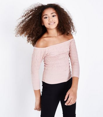 Teens Pale Pink Shirred 3/4 Sleeve Bardot Top