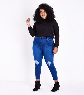 Curves Blue Super Soft Super Skinny Ripped Jeans