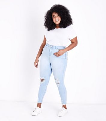 Curves Pale Blue Super Soft Super Skinny Ripped Jeans