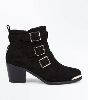 Black Suedette Triple Buckle Heeled Ankle Boots