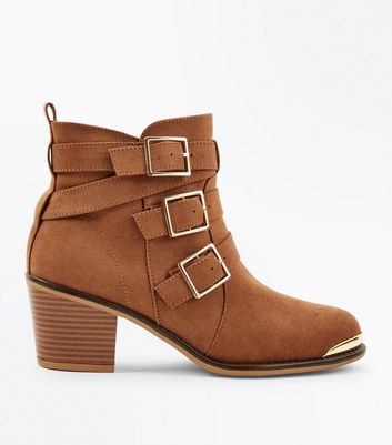 Tan Suedette Triple Buckle Heeled Ankle Boots