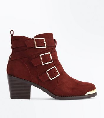 Rust Suedette Triple Buckle Heeled Ankle Boots