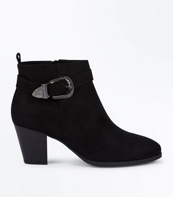 Black Suedette Western Buckle Strap Heeled Boots