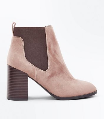 Light Brown Suedette Tab Back Chelsea Boots