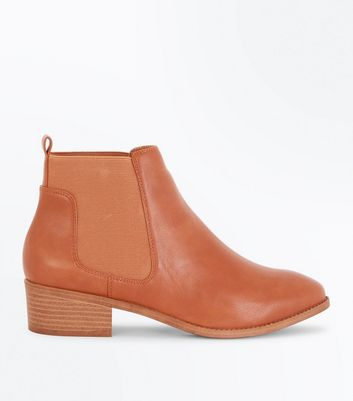 Tan Low Block Heel Chelsea Boots