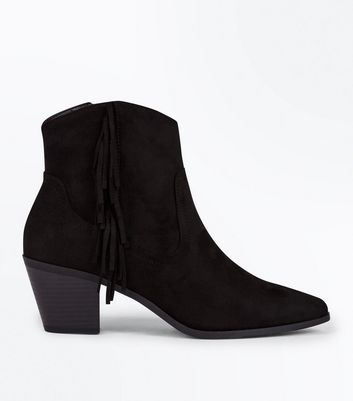 Black Fringe Side Heeled Western Ankle Boots