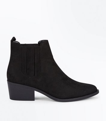 Black Suedette Stitch Side Western Boots