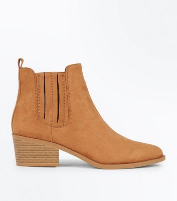 Tan Suedette Stitch Side Western Boots