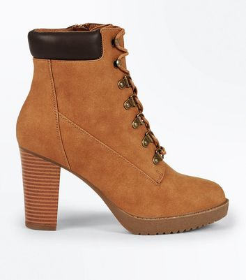 Tan Block Heel Hiker Boots