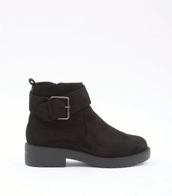 Black Suedette Chunky Cleated Sole Ankle Boots