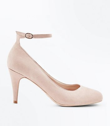 Nude Suedette Round Toe Ankle Strap Courts