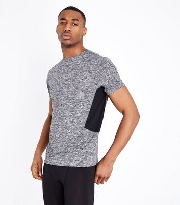 Dark Grey Mesh Trim Sports Top