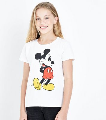 Teens White Mickey Mouse Print T-Shirt