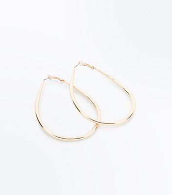 Gold Teardrop Hoop Earrings