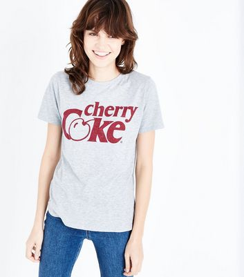Grey Cherry Coke Print T-Shirt
