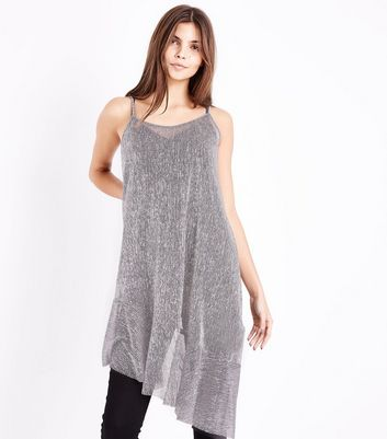 Silver Metallic Asymmetric Slip Dress