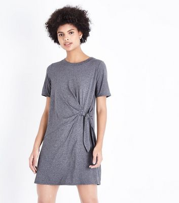 Grey Ruched Tie Side Tunic Dress