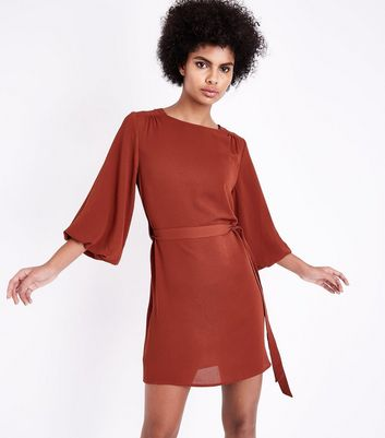 Rust Puff Sleeve Belted Tunic Dress