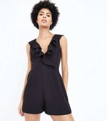 Black Frill Front Playsuit