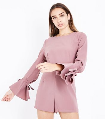 Pink Bell Sleeve Playsuit