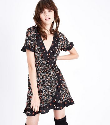 Black Contrast Floral Frill Trim Wrap Dress