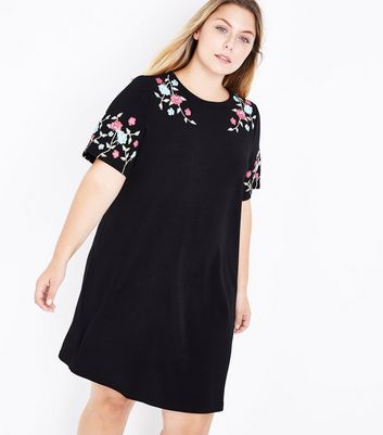 Curves Black Floral Print Tunic Dress