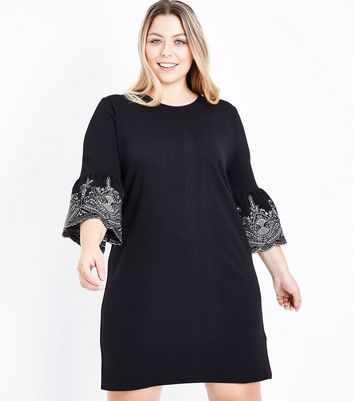 Curves Black Embroidered Bell Sleeve Tunic Dress
