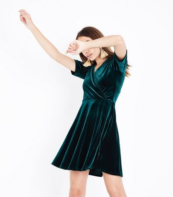 Dark Green Velvet Wrap Dress