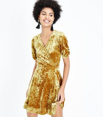 Gold Velvet Wrap Dress