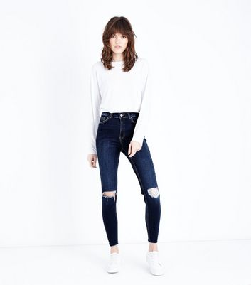 Blue High Waist Ripped Knee Skinny Dahlia Jeans