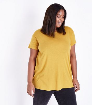 Curves Mustard Yellow Oversized T-Shirt
