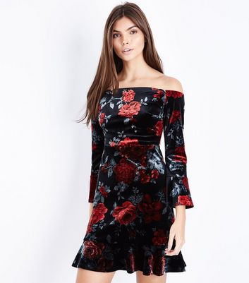 Black Floral Velvet Bardot Neck Dress