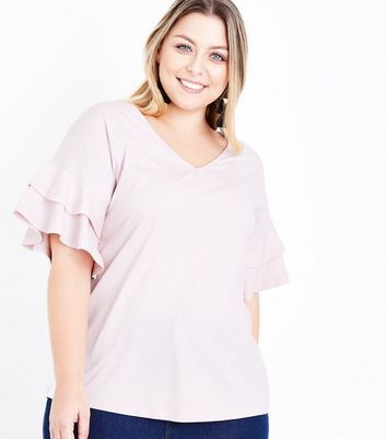 Curves Shell Pink Double Frill Sleeve T-Shirt