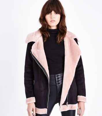 Black and Pink Faux Fur Trim Aviator jacket