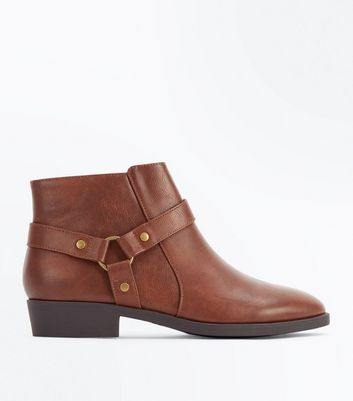 Tan Stirrup Side Low Heel Ankle Boots