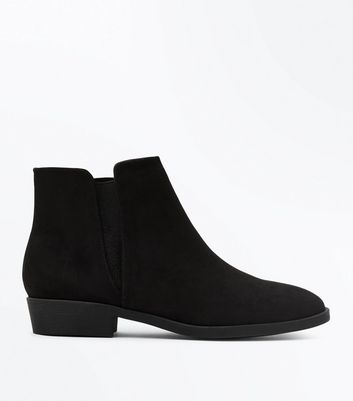 Black Suedette Elastic Side Ankle Boots