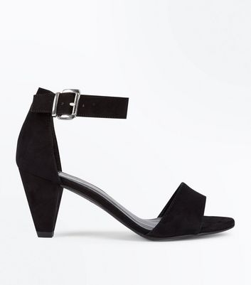 Girls Black Suedette Cone Heel Sandals