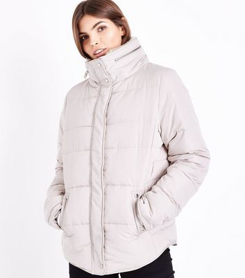 Tall Cream Fitted Puffer Jacket