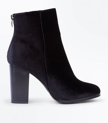 Black Velvet Block Heel Zip Back Boots